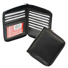 Genuine Leather Men ID Card Zip Around Safe Bifold Tall Wallet 10 Cards Holder