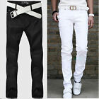 Mens Stylish Jeans Solid Straight Slim Fit Trousers Casual Long Pants