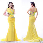 Long Yellow Women's Formal Ball Cocktail Prom Dress Party Dresses Evening Gowns