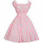 Vintage Retro Dancing Party Dress Rockabilly Swing Jive Skirt 50's 60's Spotted