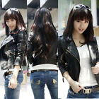 Crazy  Girl Women Lady Synthetic Leather Zip Slim Lapel Jacket Outerwear Black