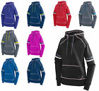 LADIES PULLOVER HOODIE, THUMBHOLES, CONTRAST COLORS, SLEEVE STRIPES XS M L XL 2X