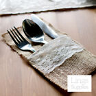 "4""x8"" Jute Burlap Tableware Pouch with Lace Trim Wedding Party Favor Craft Bags"