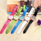 Lady's Fashion Leather Strap Rose Flower Watch Womens Rhinestone Watches New