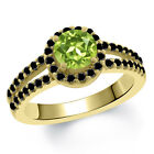 1.40 Ct Round Green Peridot Black Diamond 14K Yellow Gold Ring