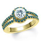 1.25 Ct Round Sky Blue Aquamarine Blue Diamond 14K Yellow Gold Ring
