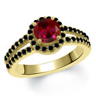 1.50 Ct Round Red Created Ruby Black Diamond 18K Yellow Gold Ring