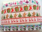 22mm Printed Craft Sewing Christmas Present Snowman Grosgrain Ribbons 7/8""