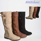 Women's Low Heel Round Toe Buckle Knee High Boot  Shoes Size 6  - 11 NEW