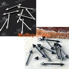 10x Punk 16g Stainless Steel Spike Taper Barbell Bar Eyebrow Ring Body Piercing