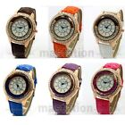 Round Dial Luxury Rolling Beads Crystal Leather Band Women Quartz Wrist Watch UK