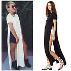 Sexy Hot Women Side High Slits Maxi Dress Casual Tee Long Top T-shirt Top Blouse