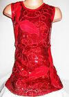 GIRLS 60s RED LEAF SPIRAL EMBROIDERED SEQUIN EVENING SHIFT PARTY DRESS
