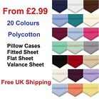 Plain Dyed Fitted Sheet, Flat Sheet, Valance Sheet Or PillowCase All Uk Bed Size