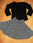 GIRLS BLACK TOP & WHITE SQUARE GRID PRINT HIGH WAISTED FLARED PARTY SKIRT SET