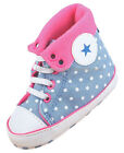 Baby Girl Pink Polka Dot Crib Shoes High Top Sneakers Size Newborn to 18 Months