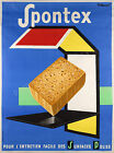 Vintage Spontex French ad print poster, large 4 sizes available
