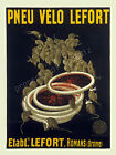Vintage Pneu Velo Lefort French Bicycle print poster, large 4 sizes available