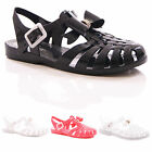 LADIES WOMENS BOW JELLY SANDALS JELLIE SHOES BEACH SUMMER FLAT HOLIDAY SIZE