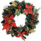 Red & Gold Decorated Wreath Christmas Decoration - Size 45cm