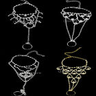 Bridal Crystal Chain Linked Slave Harness Bracelet & Finger Ring -CHOOSE PATTERN