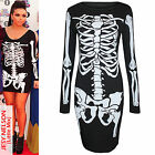 WOMEN LADIES BLACK SKELETON BONES PRINT BODYCON FANCY DRESS HALLOWEEN LONG TOP