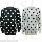LADIES HEART PRINT LONG SLEEVE WARM PLAIN KNITTED TOP WOMENS JUMPER SIZE 8-14