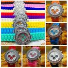 Fashion Bling Crystal Ladies Women Girl Jelly Silicone Analog Quartz Wrist Watch