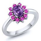 1.25 Ct Oval Purple Amethyst Pink Sapphire 925 Sterling Silver Ring