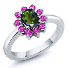 1.45 Ct Oval Tourmaline Green Mystic Topaz Pink Sapphire 925 Silver Ring