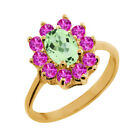 1.50 Ct Oval Green Amethyst Pink Sapphire 18K Yellow Gold Ring