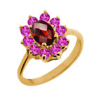 1.30 Ct Oval Checkerboard Red Garnet Pink Sapphire 18K Yellow Gold Ring