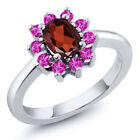 1.40 Ct Oval Red Garnet Pink Sapphire 925 Sterling Silver Ring