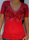 Sinful by Affliction - FEMME FATALE - Woman's Short Sleeve Burnout T-Shirt - Red