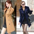 New Women's Slim Double Breasted Lapel Wool Trench Winter Coat Jacket Outwear