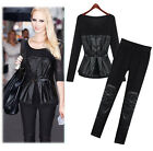 2014 Fashion New Women's Splice PU leather Slim Fit Suits Two-Piece Set XL-5XL