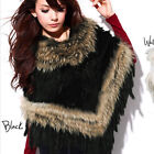 New Real Knitted Rabbit & Raccoon Fur Shawl With Tassels Cape Wraps Hot QD20225