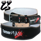 TurnerMAX Leather Weight Lifting Belts Leather Back Support Strap Gym Training