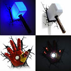 Marvel Avengers Thor Hammer MJOLNIR/Iron Man Hand 3D Deco Wall LED Night Light