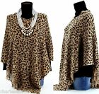 CharlesElie94 BENEDICTE Women's Leopard Print beige Knitted Poncho Cape UK 8-18