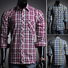 Plaids Checks Grids Casual Tops Shirts Men Fitted Business Trip Dress Shirts Tee
