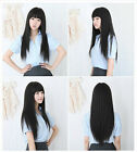 Sexy Full Bangs Long Straight Wig BOBO Cosplay Party Full Wigs Hair Simulation