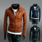 Premium Men's Slim Top Designed Sexy PU Leather Short Jacket Coat