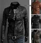 Premium Men's Slim Top Designed Sexy PU Leather Short Jacket Coat size:M-XXL