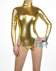 Metallic Gold Mock Neck Long Sleeve Leotard Wet-Look Dance Bodysuit Costume S-3X