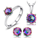 925 Silver Genuine Fire Rainbow Coated Quartz Earrings Pendant Ring SET