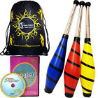Beach Juggling Club  Set  - 3 Clubs + Club Juggling  DVD (optional) + Travel Bag