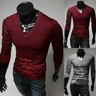 HOT Trendy Men Casual Long Sleeves T-Shirts Cotton Slim Fit V-Neck Tee Tops AUJR