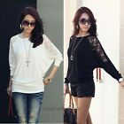 Latest Women's Batwing Top Dolman Lace Loose T-Shirt Blouse Top Long Sleeve