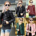 Womens Slim Warm Thick Cotton Parka Jacket Bowknot Short Padded Coat Outerwear